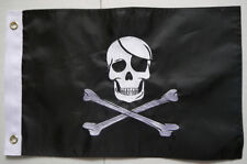 "12x18"" Jolly Roger Pirate Skull Flag Nylon Embroidered Motorcycle Boat Grommet"