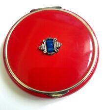 Vintage Art Deco Silver Metal Compact RED Enamel Enacased with BLUE Stone Inset.