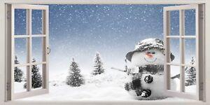 Snowman Xmas Decoration Children 3D Effect Window Canvas Picture Wall Art Prints