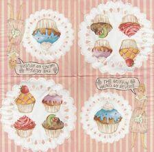 2 Serviettes en papier Cuisine Pâtisserie cupcakes - Paper Napkins Muffin