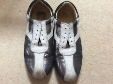 KENNETH COLE UK 7 REACTION Black Shimmer & Cream LEATHER TRAINERS