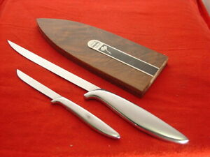 Gerber Made in USA DURENDAL & PIXIE Fixed Blade Kitchen 2 Knife Set & Wood Case