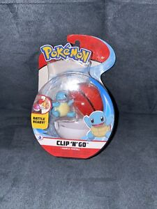 """NIB Pokemon Clip 'n' Go Squirtle & Poke Ball Action Figure Toy 2"""" Winking"""