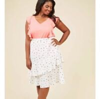 ModCloth 1X Floral Midi Skirt White Ruffle Lined Elastic Waist Plus Size