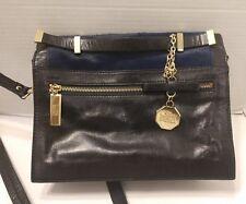 Badgley Mischka Black Leather Blue Calf Hair Crossbody Bag Handbag Gold Hardware