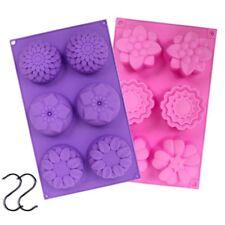 YGEOMER 2pcs 6 Cavity Silicone Flower Soap Mold Handmade DIY Cake & 2 S Hooks