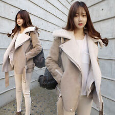 WFN womens lapel long thick suede leather fur lining coat jacket outwear