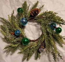 New ListingBath & Body Works 3 Wick Candle Ring Holder Blue / Green Wreath
