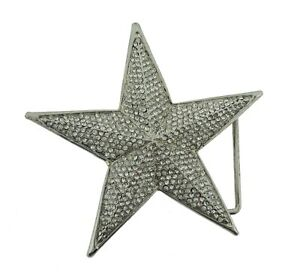New Men Big Star Belt Buckle Silver Blinged Out Hip Rock Punk Goth Tattoo Style