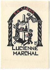 LUCIENNE MARCHAL: Eigen-Exlibris; Putten malen