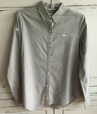 NEW Lacoste Gray Striped Button Down Shirt Size 40 US Large 8 ATP Branded Tennis