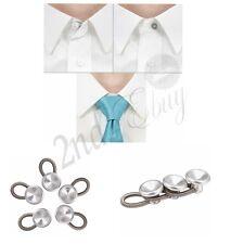 5 Metal Shirt Collar Cuff Flexible Extender White Alloy Expands Neck Tie Buttons