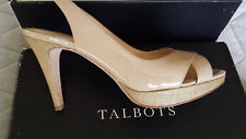 Talbots Women's Emlyn4 Platform Heel Sandals Sand Color Sz 71/2 M - EUC