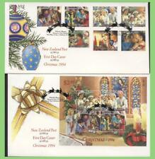 New Zealand 1994 Christmas set & mini sheet on two First Day Covers
