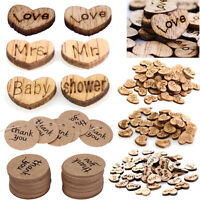 100X Wooden Heart Table Decor Vintage Rustic Wedding Baby Shower Paper Confetti