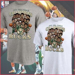 NEW!! Milwaukee Bucks 2021 NBA Finals Champions Team Caricature Roster T-Shirt