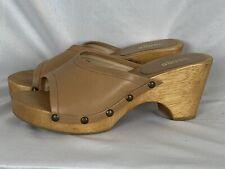 Vtg 90s Bongo Leather Wood Chunky Platform Heel Sandals 9