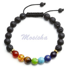 7 Chakra Gems Black Lava Rock  8mm Beads Healing Point Bracelet Adjustable