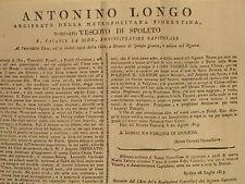 Documento Ringraziamento Vescovo Spoleto Antonio Longo Nominato Napoleone 1813