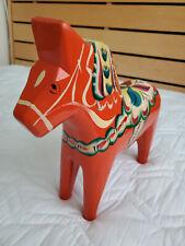 "Vtg Large Swedish Dala Horse Folk Art Hand Painted Orange Wood 12.5"" Tall 3lbs"