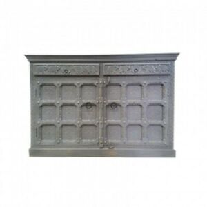 Indian Embossed Antique Brass work Solid wood Grey Sideboard Buffet 150cm