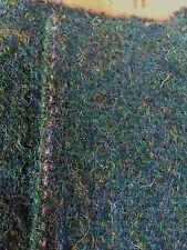 "VINTAGE & NEW 100% WOOL DK GREEN HANDWOVEN FABRIC 28""/72 cm Wx 1.46 metres L"