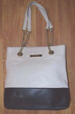 CALVIN KLEIN 2-Tone Leather Shoulder Bag Tote Chain Straps Purse 54163 Womens