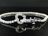 "6.53cttw D/VSS1 Diamond 14K White Gold Over Heart 7.25"" Tennis Bracelet FINE EDH"