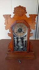 Ansonia Clock Co.  Mantle Parlor Kitchen Clock 8 Day Burton Strike Antique