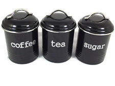 BLACK SET OF 3 TEA COFFEE AND SUGAR CANISTERS - NEW MODERN RETRO KITCHEN DECOR