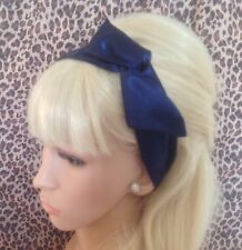 NAVY BLUE SATIN BENDY WIRED HAIR WRAP WIRE HEAD BAND 50s 40sVINTAGE RETRO STYLE