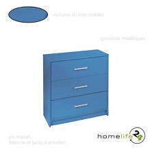 Belle commode avec 3 tiroirs vernis bleu indigo pin massif