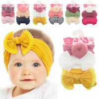 3Pcs/set Infant Baby Girl Bow Stretch Headbands Toddler Turban Knot Hair Band AU