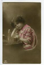 1910s Children Child Kid Cute Sailor Suit GIRL w/ TOY BLOCKS photo postcard