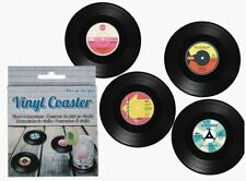 NOVELTY RETRO STYLE SET OF 4 VINYL RECORD COASTERS DRINK MAT IN GIFT BOX