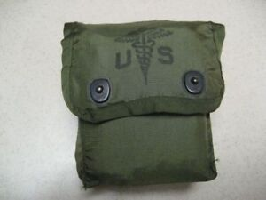 Genuine US  Military Issue First Aid Kit Pouch  USGI Olive Drab Alice Clips