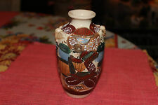 Superb Japan Moriage Satsuma Small Pottery Vase-Samurai-Painted Abstract Designs