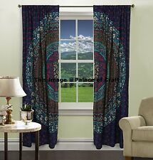 Cotton Mandala Curtains Ethnic Indian Wall Drapery 2 Valances Panel Scarf Hippie