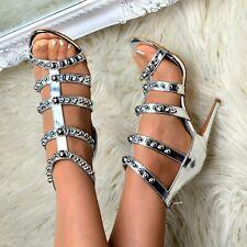 Women Metallic Stiletto High Heel Sandals Open Toe Bead Stud Strappy Shoes Size