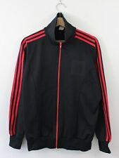 H17 Vtg Adidas 80s Men Track Jacket Black Red Firebird Trefoil Nylon D7 M/L