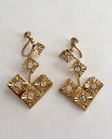 Vintage Mod Gold Tone Geometric Flower and Rhinestone Dangle Screw Back Earrings