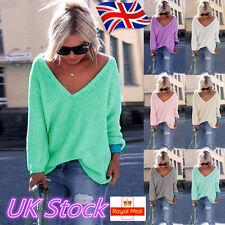 Plus Size ! UK Womens Long Sleeve V Neck T-Shirt Ladies Loose Tops Blouse 6-18