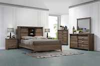 NEW Modern Queen King 5PC Bedroom Set Rustic Brown Farmhouse Furniture B/D/M/N/C