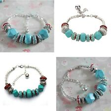 Fake Turquoise Silver Plated Blue Beaded Anklet Stretch Women Charm Bracelet