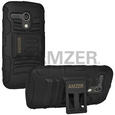 Amzer Hybrid Tough Armor Kickstand Case W/ Stand Combo For Moto G XT1032 - Black