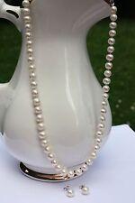besonders Angebot Süßwasser Zucht Perlenschmuck Set Ohrringe Perlenkette Collier