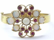 22Kt Opal / Ruby Yellow Gold Bangle Jewelry Bracelet 11.20CT