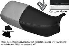 BLACK & WHITE CUSTOM FITS HONDA XL 600 V TRANSALP DUAL LEATHER SEAT COVER