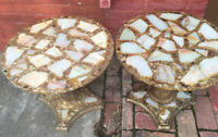 2 Vtg Mid Century Modern Acrylic Resin Lucite Inlaid Rock End Side Tables Gold