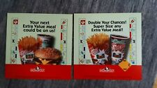 """2 Different McDonalds1998 MONOPOLY Extra Value Meal Adv Translites/signs 13 3/4"""""""